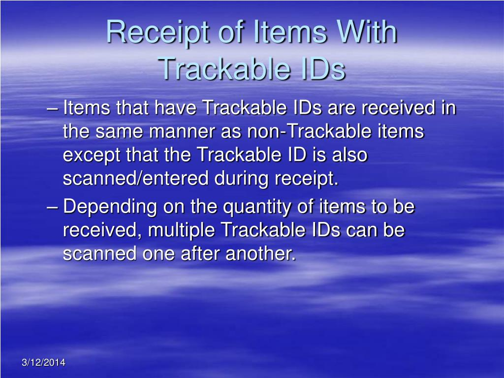 Receipt of Items With