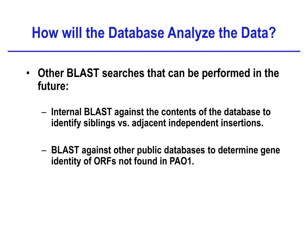 How will the Database Analyze the Data?