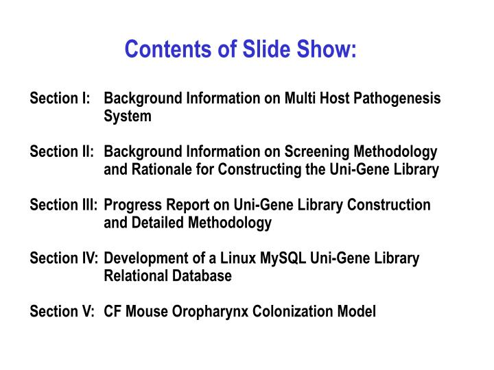 Contents of Slide Show: