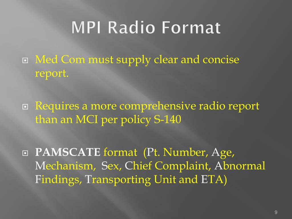 MPI Radio Format