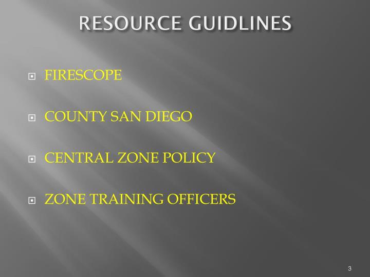 Resource guidlines