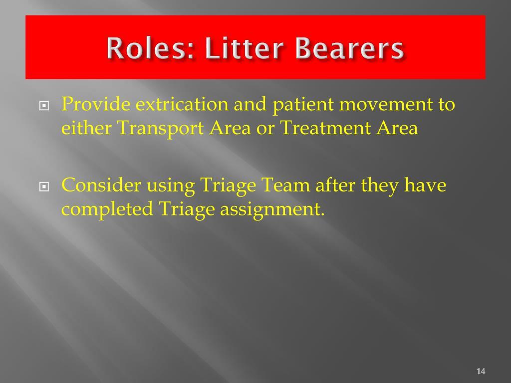Roles: Litter Bearers