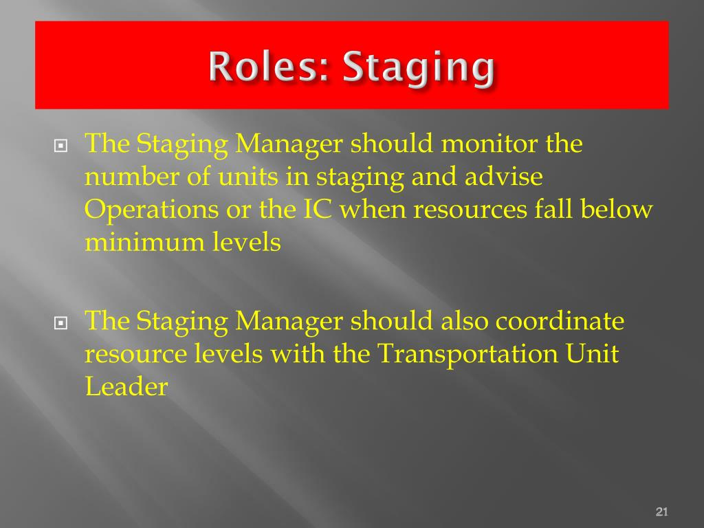 Roles: Staging