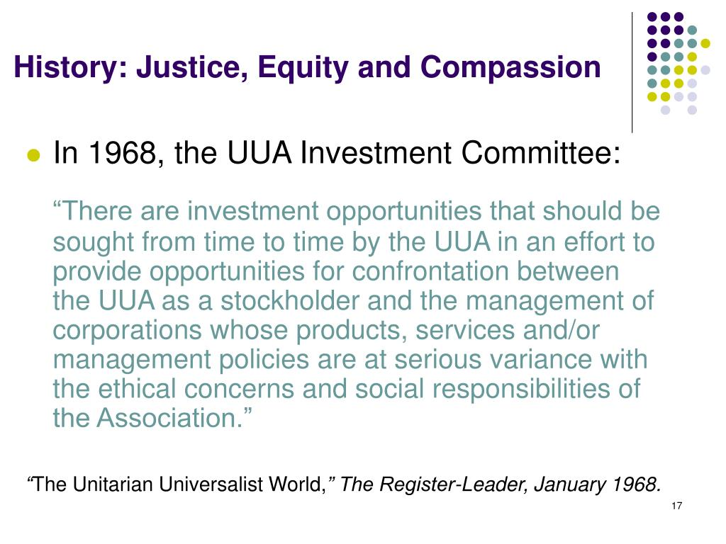 History: Justice, Equity and Compassion