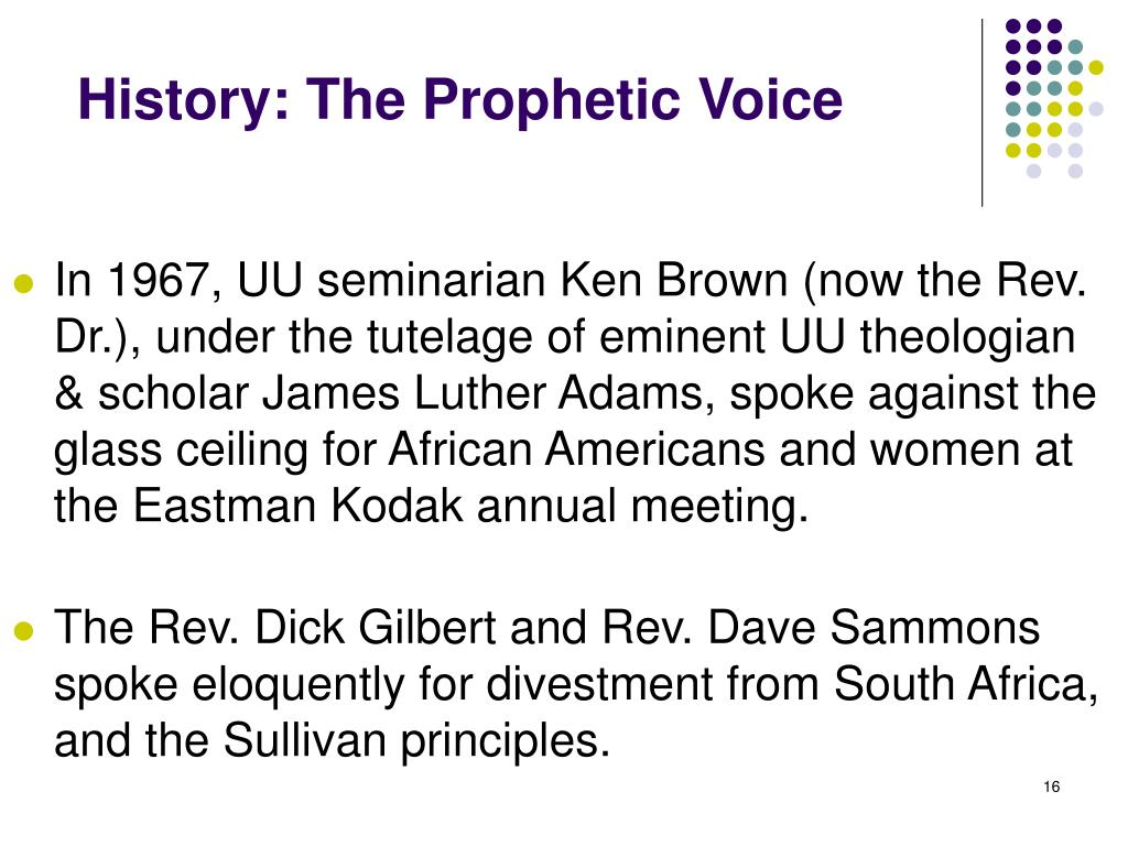 History: The Prophetic Voice