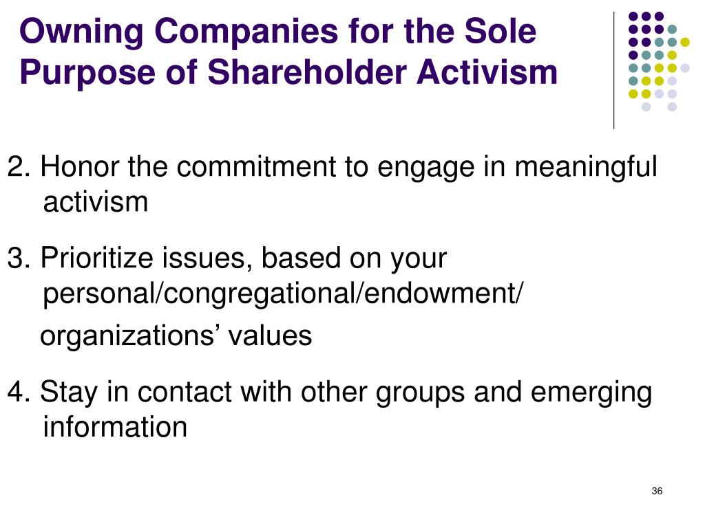 Owning Companies for the Sole Purpose of Shareholder Activism