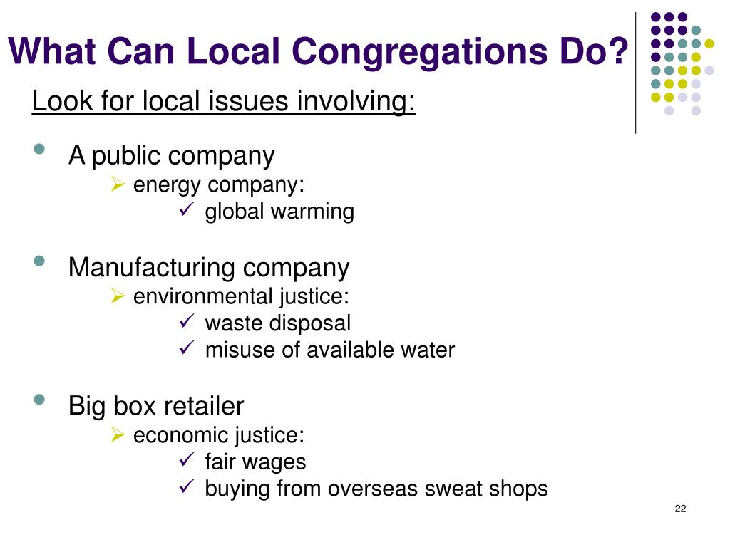 What Can Local Congregations Do?