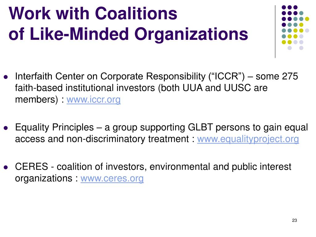 Work with Coalitions