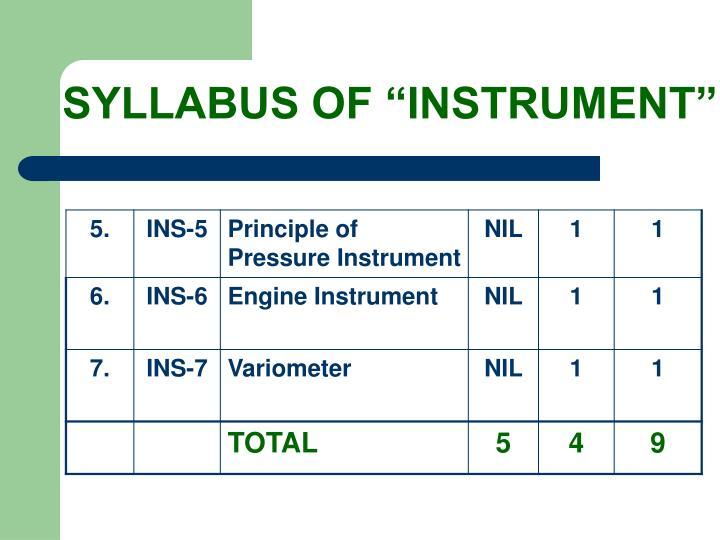 Syllabus of instrument3
