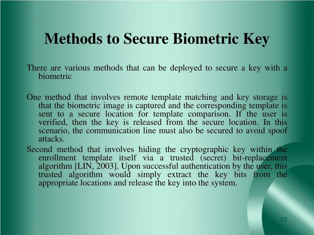 Methods to Secure Biometric Key