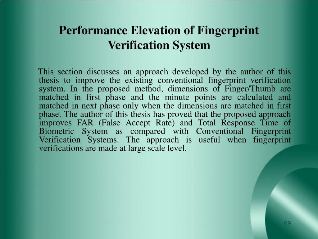 Performance Elevation of Fingerprint Verification System