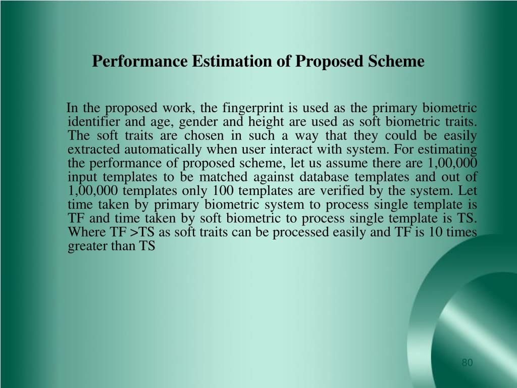 Performance Estimation of Proposed Scheme