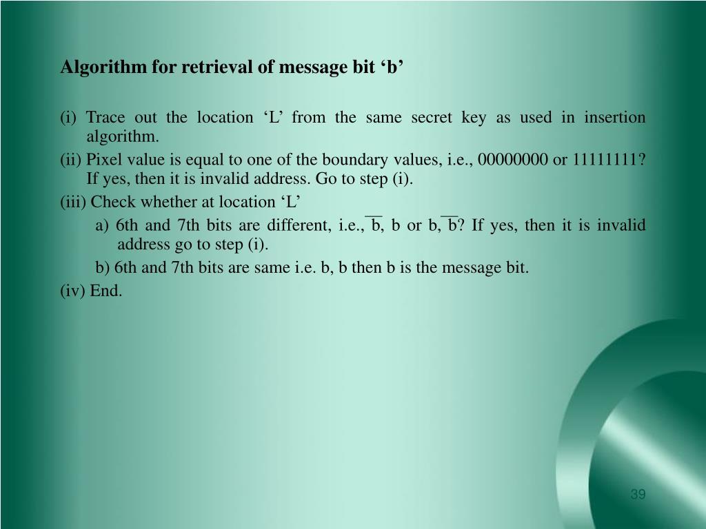 Algorithm for retrieval of message bit 'b'