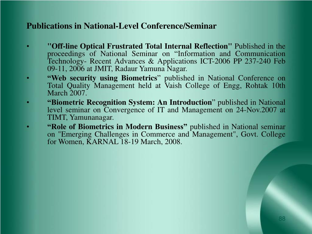 Publications in National-Level Conference/Seminar