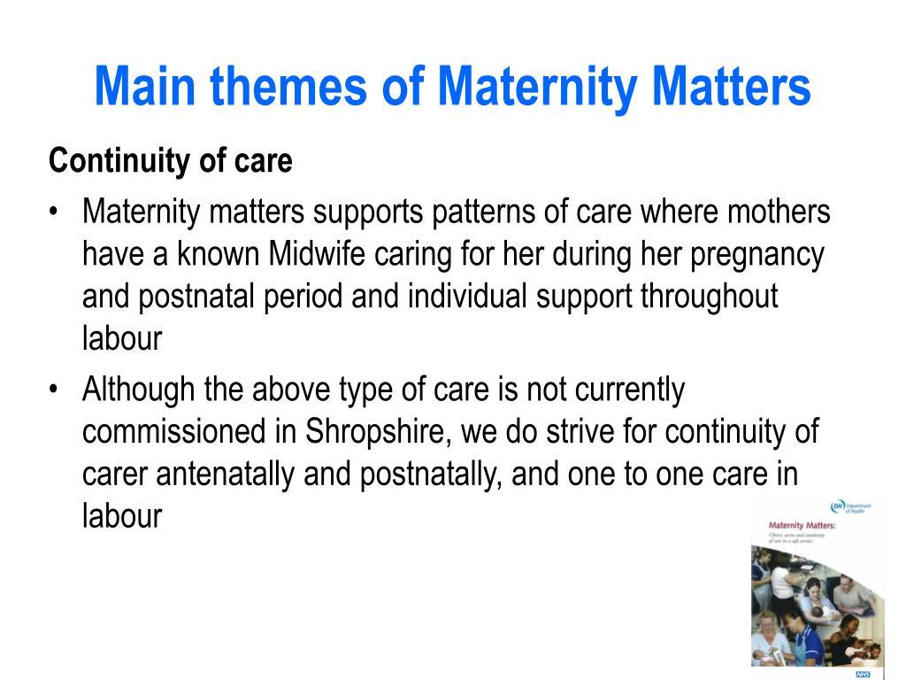 Main themes of Maternity Matters