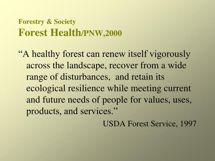 Forestry society forest health pnw 2000