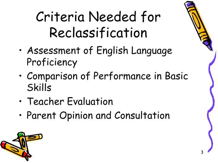 Criteria needed for reclassification