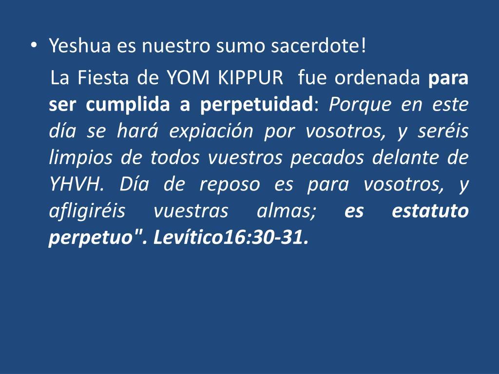 Yeshua es nuestro sumo sacerdote!
