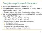 analysis equilibrium i summary