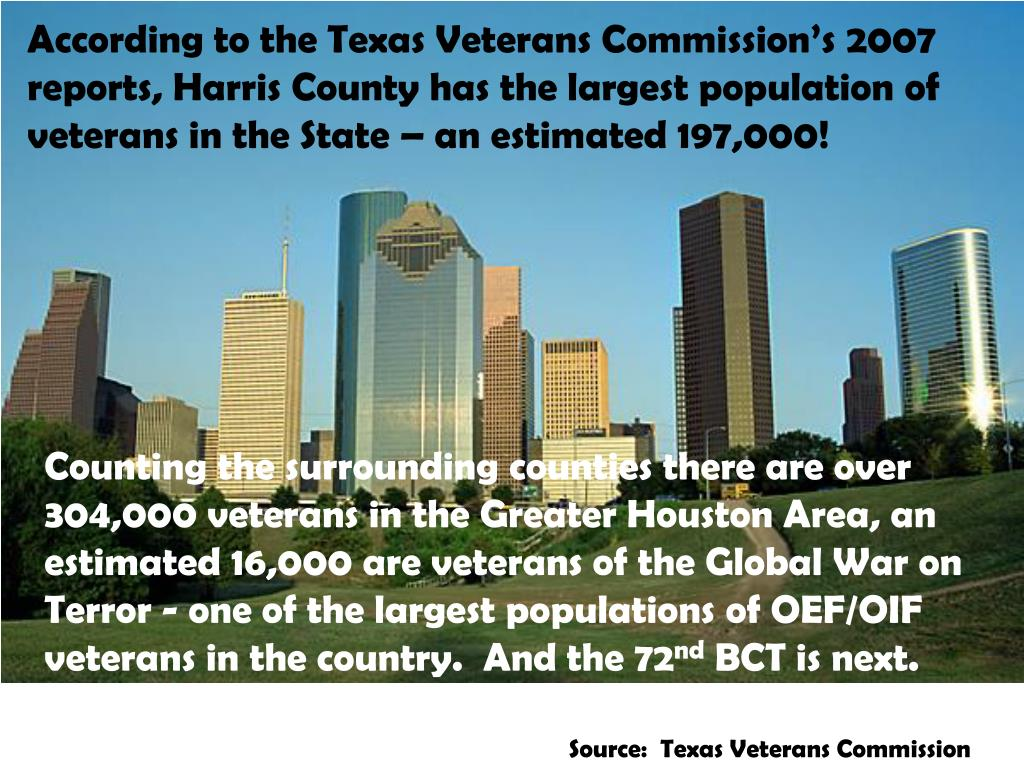 According to the Texas Veterans Commission's 2007 reports, Harris County has the largest population of veterans in the State – an estimated 197,000!