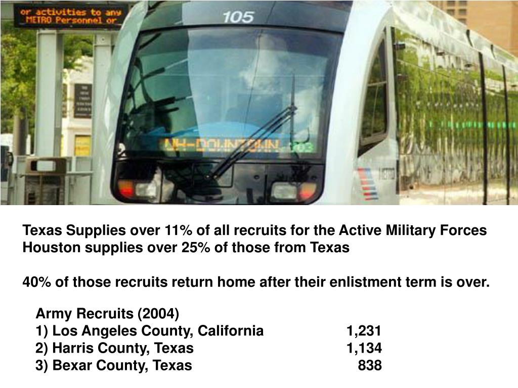 Texas Supplies over 11% of all recruits for the Active Military Forces