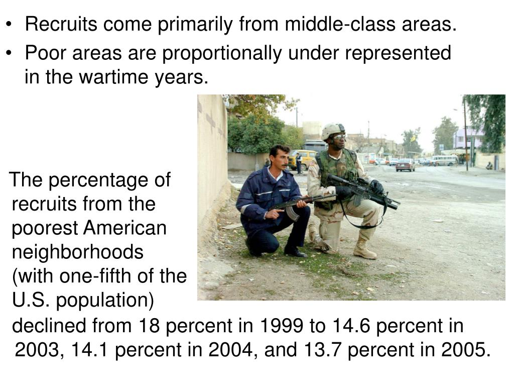 Recruits come primarily from middle-class areas.