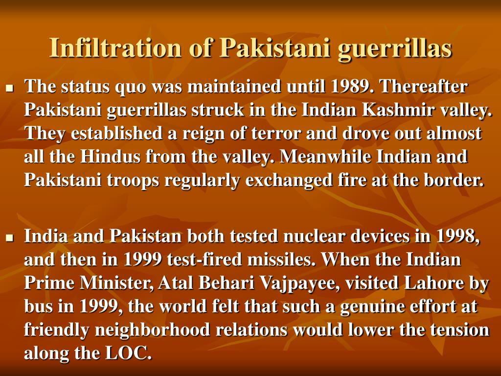 Infiltration of Pakistani guerrillas