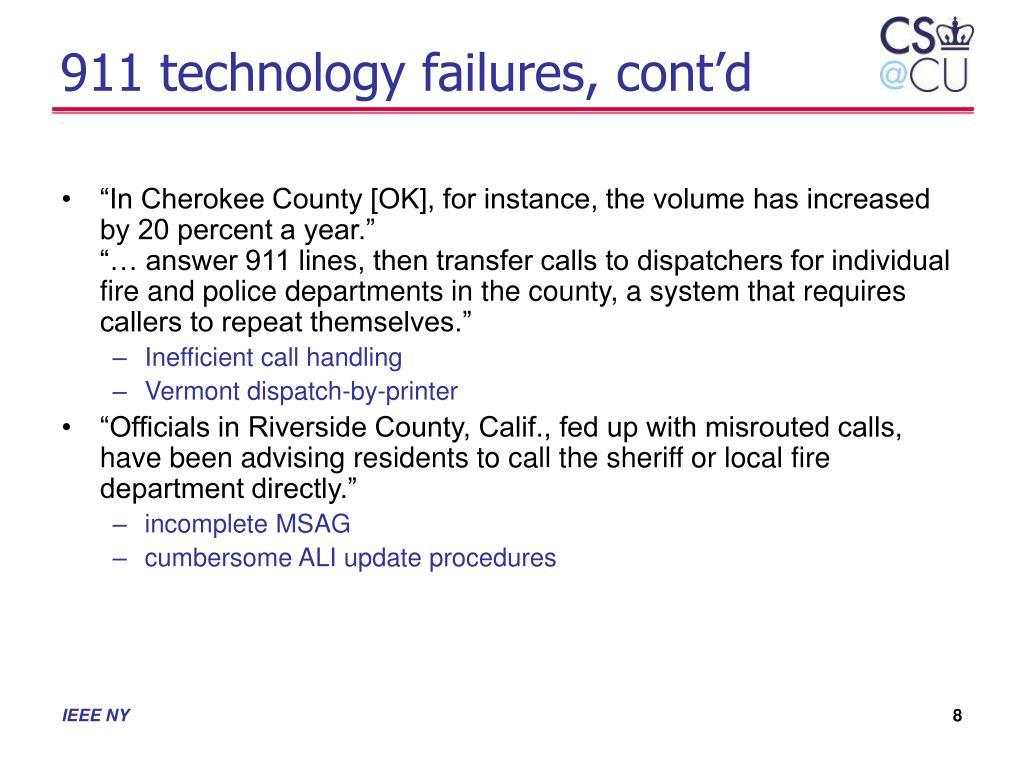 911 technology failures, cont'd