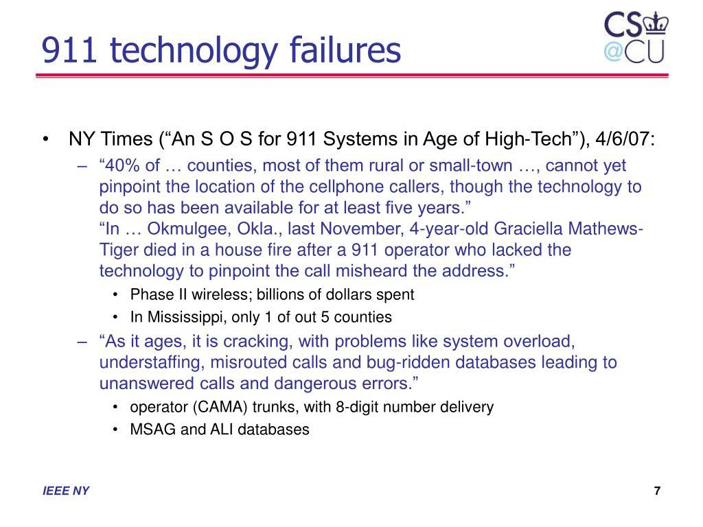 911 technology failures