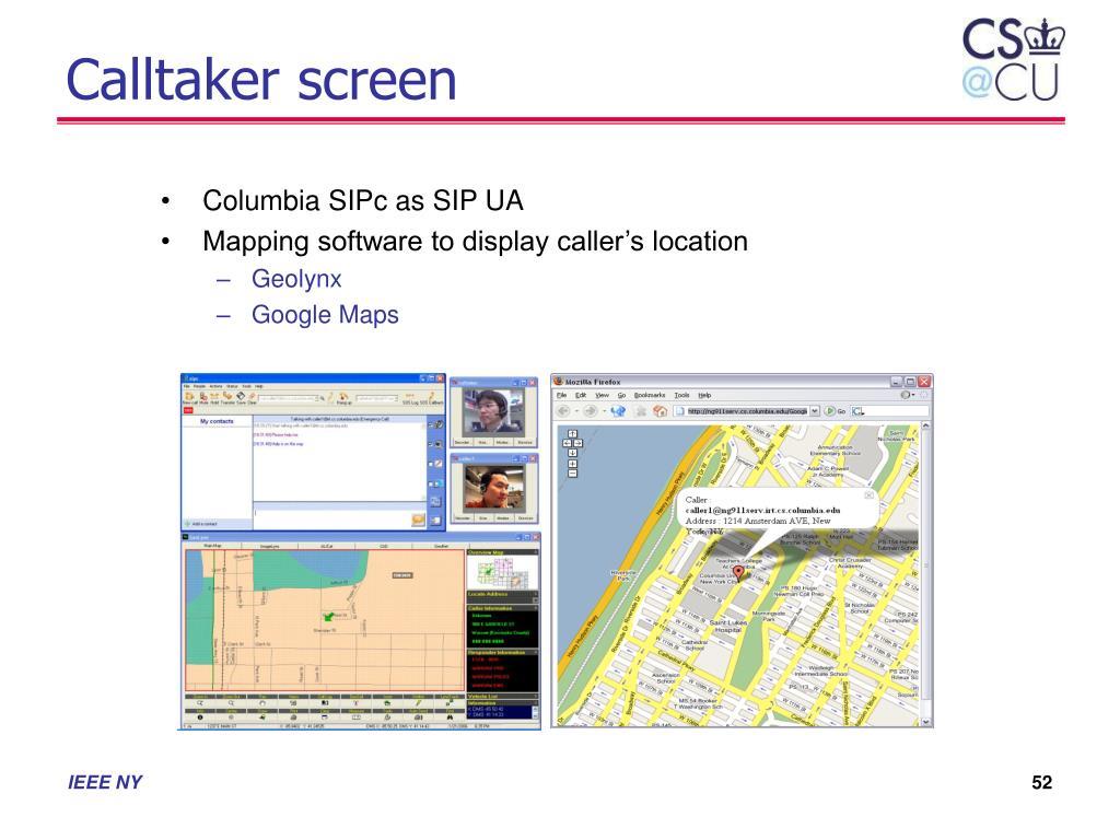 Calltaker screen