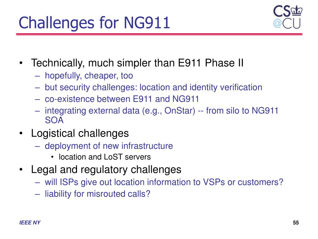 Challenges for NG911
