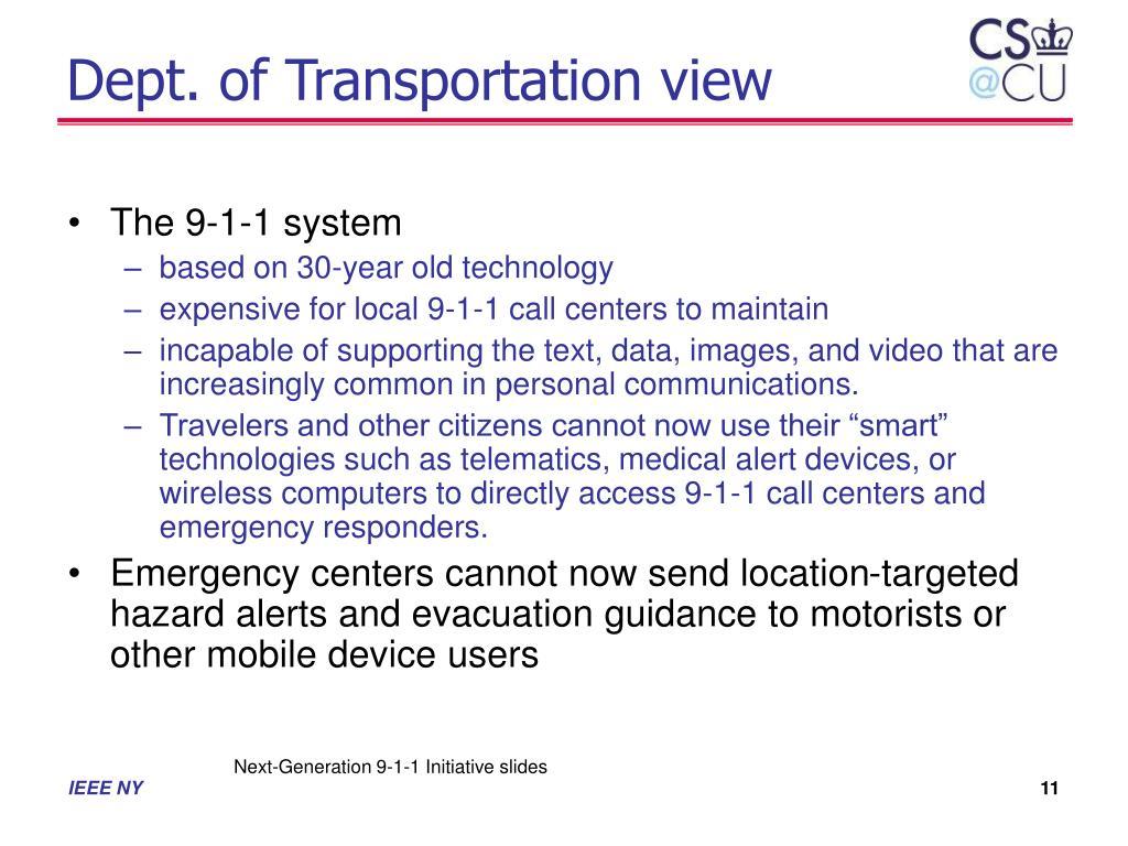 Dept. of Transportation view