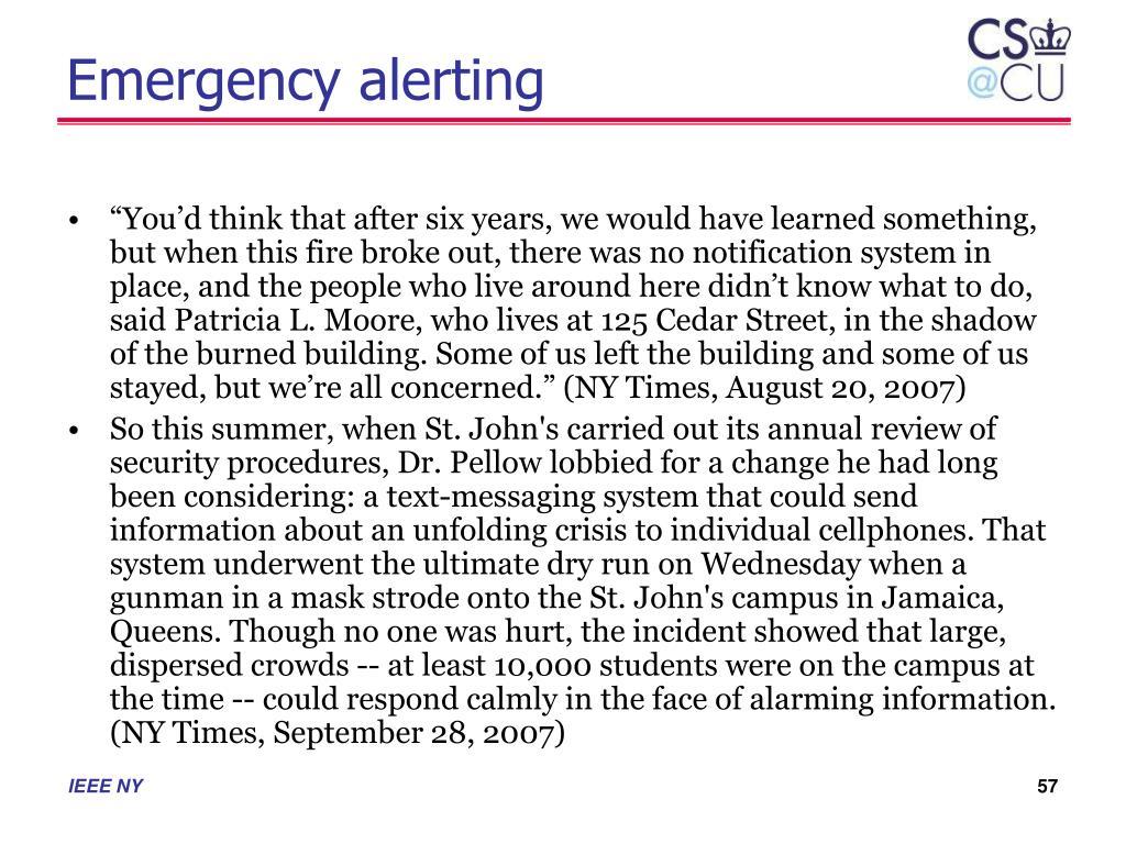 Emergency alerting