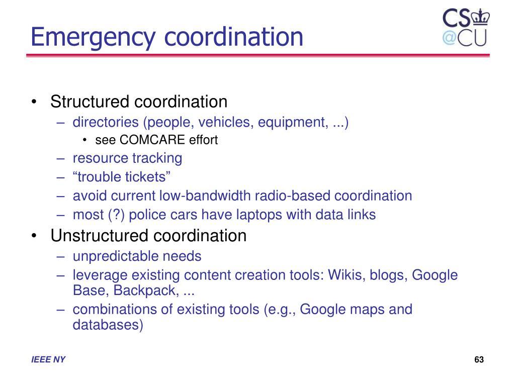Emergency coordination