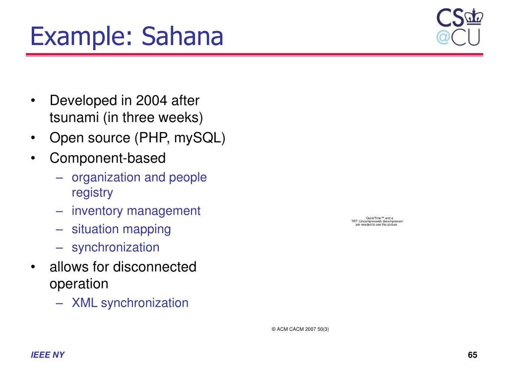 Example: Sahana