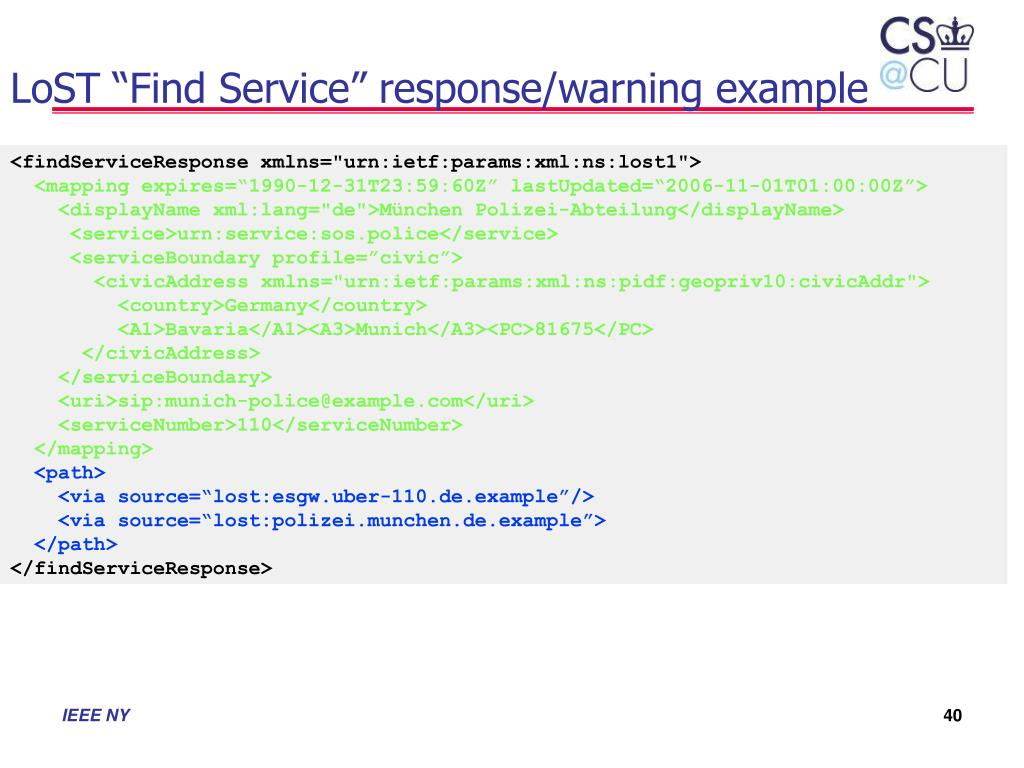 """LoST """"Find Service"""" response/warning example"""