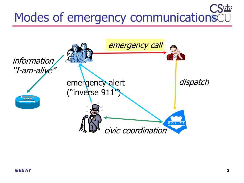 Modes of emergency communications