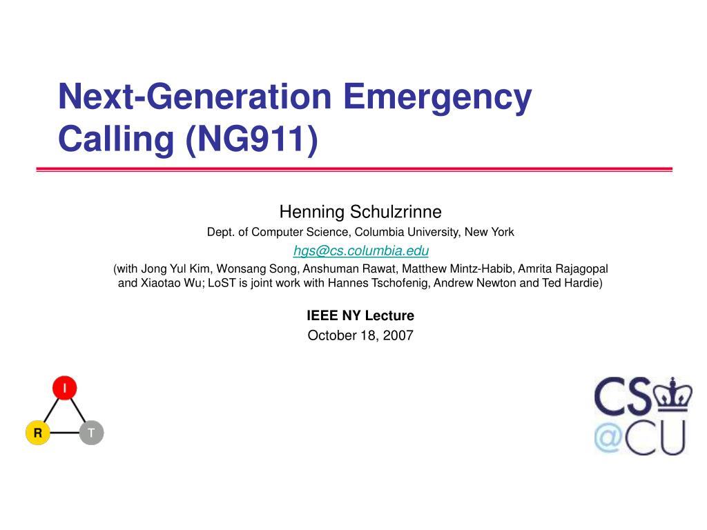 Next-Generation Emergency Calling (NG911)