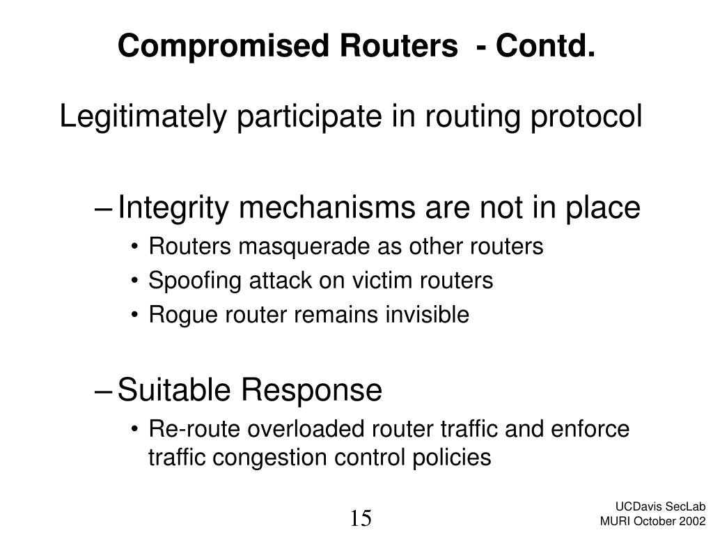 Compromised Routers  - Contd.