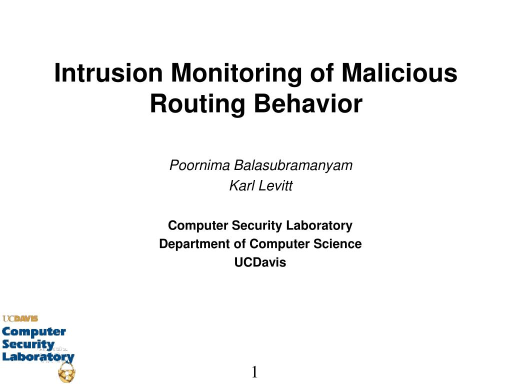 intrusion monitoring of malicious routing behavior l.