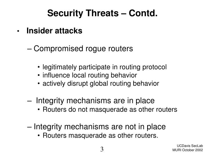 Security threats contd