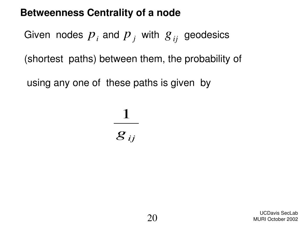 Betweenness Centrality of a node