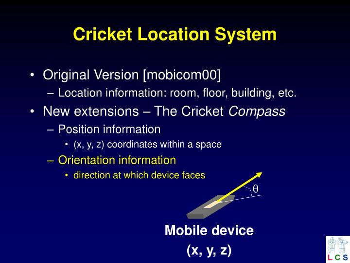 Cricket location system