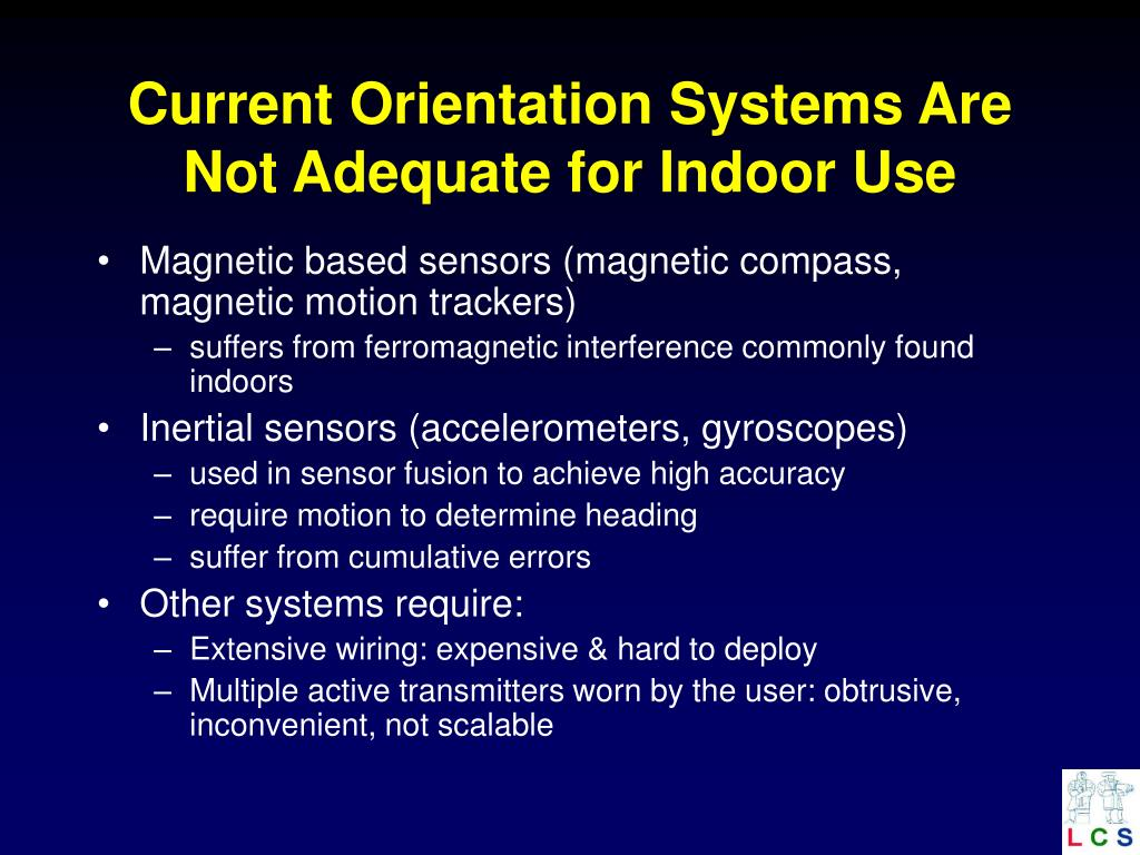 Current Orientation Systems Are Not Adequate for Indoor Use