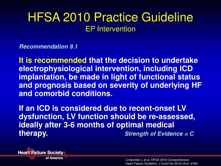 Hfsa 2010 practice guideline ep intervention
