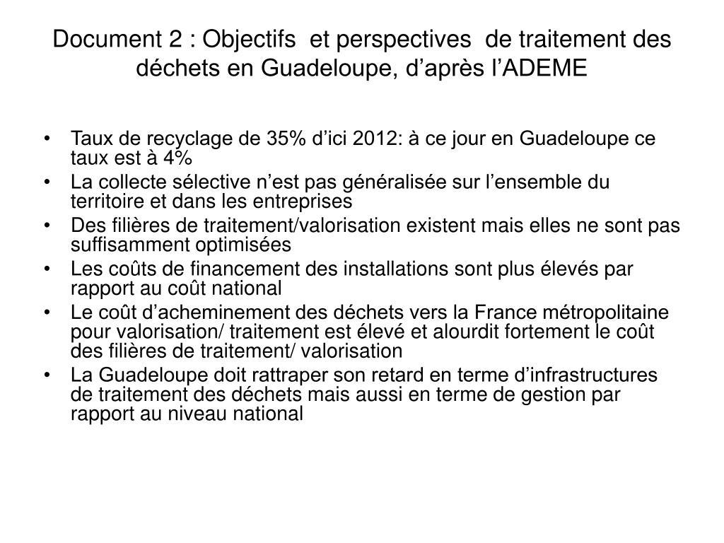Document 2: Objectifs  et perspectives  de traitement des déchets en Guadeloupe, d'après l'ADEME
