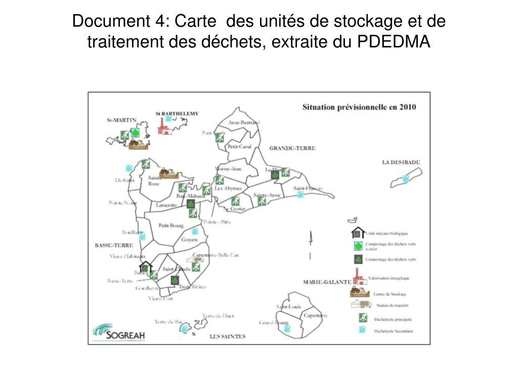 Document 4: Carte  des unités de stockage et de traitement des déchets, extraite du PDEDMA