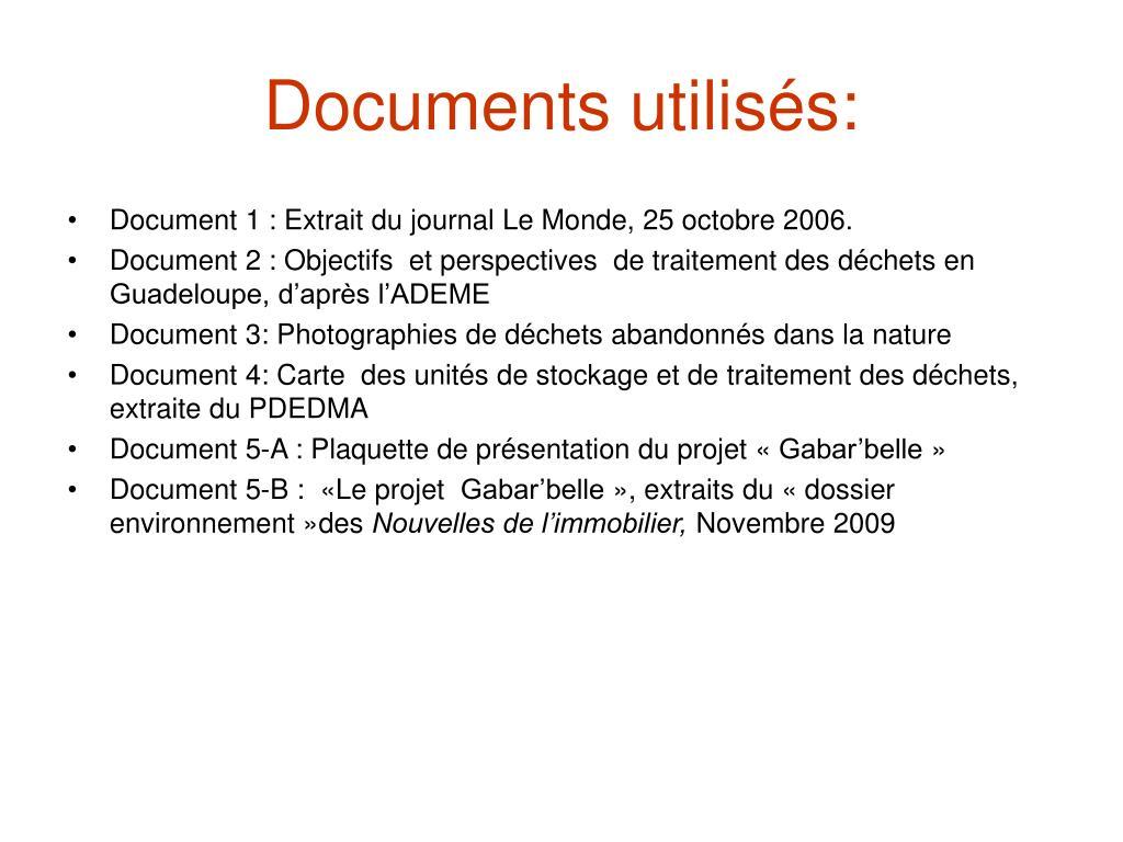 Documents utilisés:
