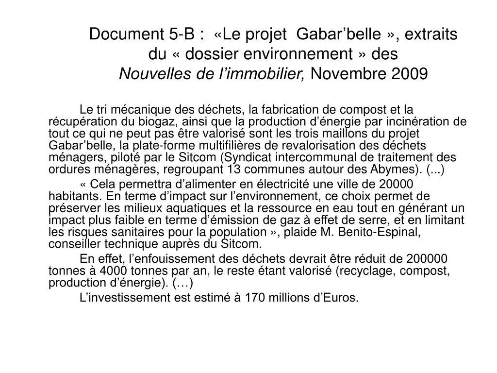 Document 5-B:  «Le projet Gabar'belle», extraits