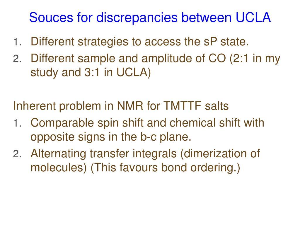 Souces for discrepancies between UCLA